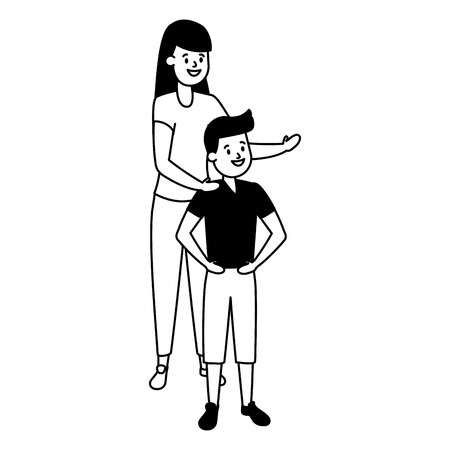 mother and son together family vector illustration