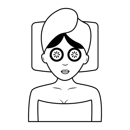 woman with towel health spa vector illustration 일러스트
