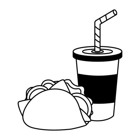 taco and soda food on white background vector illustration Ilustração
