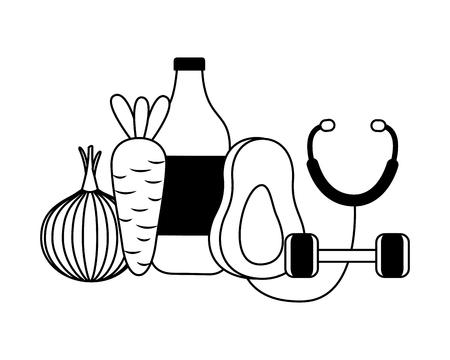 stethoscope avocado carrot onion water world health day vector illustration Illustration