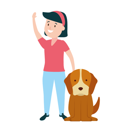 girl with his dog domestic vector illustration