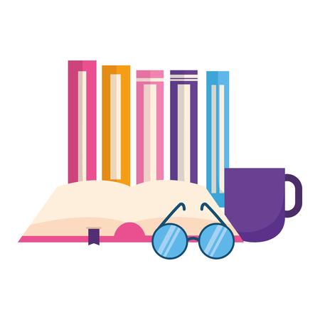 world book day eyeglasses coffee cup vector illustration