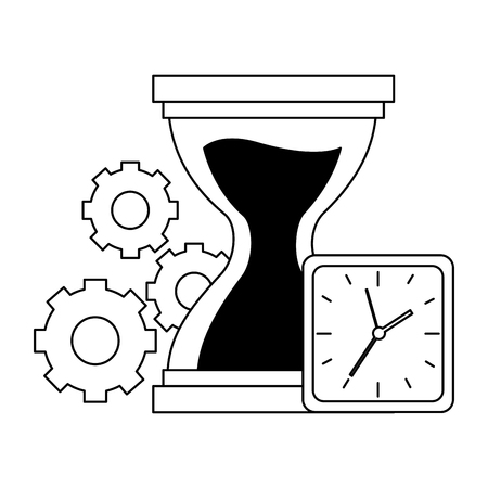 hourglass clock gears time work vector illustration Archivio Fotografico - 122950539