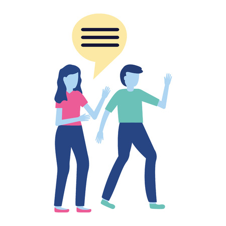 man and woman talking conversation vector illustration