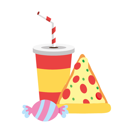pizza soda and candy food outline vector illustration Banque d'images - 122950604