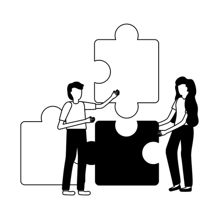 business people puzzles pieces strategy vector illustration  イラスト・ベクター素材