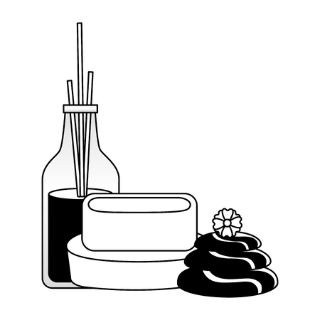 aromatherapy sticks soap stones flowers spa treatment vector illustration Foto de archivo - 122950631