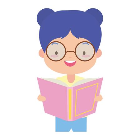 girl holding textbook - world book day vector illustration Banco de Imagens - 122950634