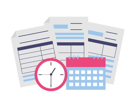 tax payment documents calculator calendar clock vector illustration