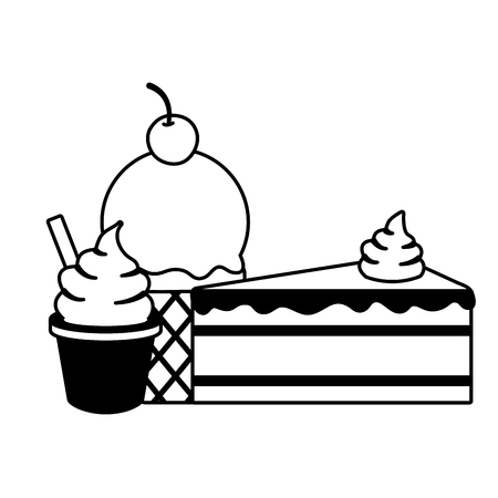 ice cream cake cone sweet vector illustration Imagens - 122950660