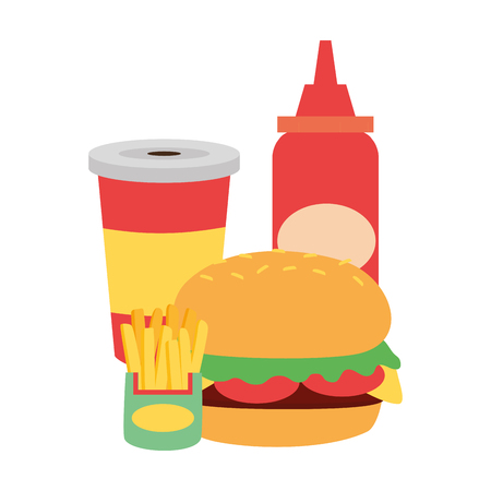 burger french fries soda sauce fast food vector illustration 向量圖像