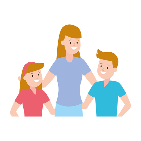 mom with son and daughter vector illustration