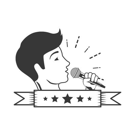 singer microphone karaoke music vector illustration design