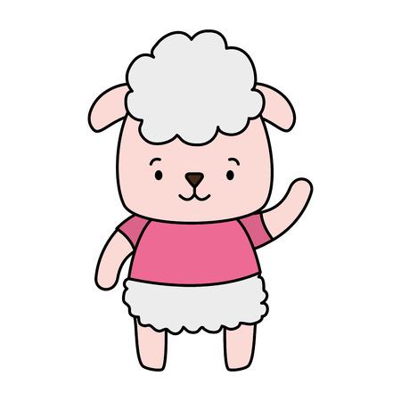 cute sheep animal cartoon vector illustration design 일러스트