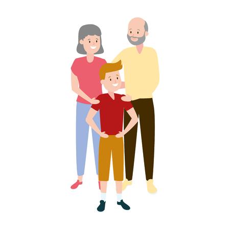 grandparents and grandson family vector illustration design Stock fotó - 122950710