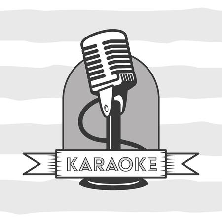 microphone karaoke retro style background vector illustration Çizim