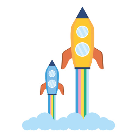 launch rockets spaceship on white background vector illustration 向量圖像