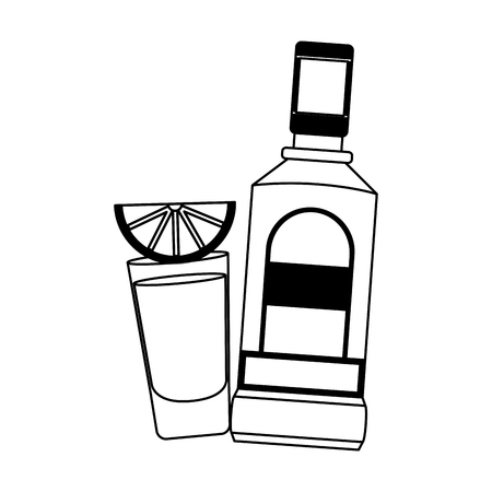 mexican bottle tequila shot lemon vector illustration Banco de Imagens - 122950735