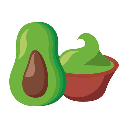 avocado with guacamole on white background vector illustration