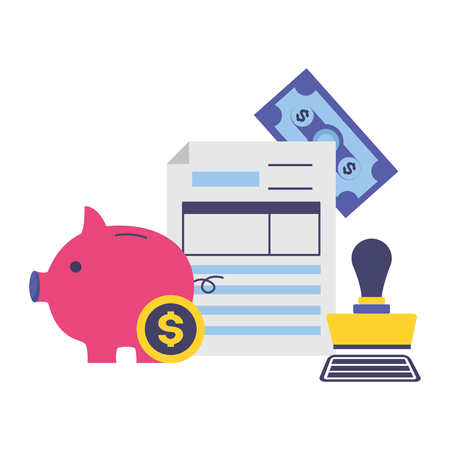 piggy bank money paid stamp document tax time payment vector illustration