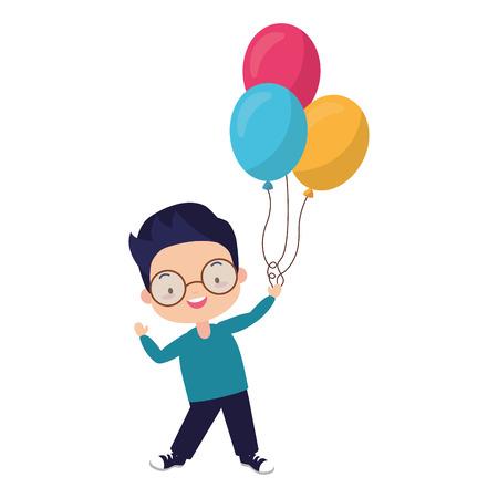 young boy holding balloons celebration vector illustration Foto de archivo - 122950790