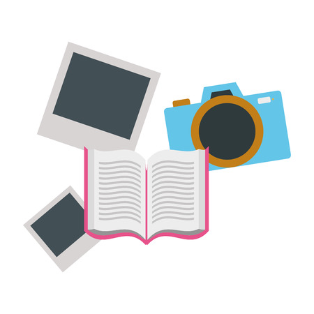 open book with camera isolated icon vector illustration design Stock Illustratie