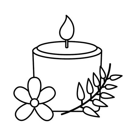 candle flowers spa treatment therapy vector illustration Stock Vector - 122950855