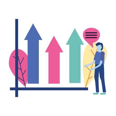 business man report financial diagram vector illustration