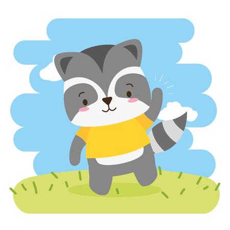 cute raccoon animal cartoon vector illustration design Standard-Bild - 122950887
