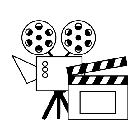 cinema projector and clapperboard isolated icon vector illustration design Foto de archivo - 122950900