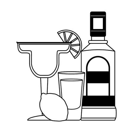 tequila shot cocktail lemon beverage vector illustration Stok Fotoğraf - 122950904