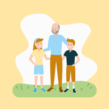 grandfather and kids family vector illustration design