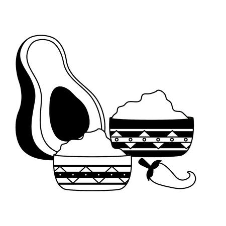 avocado guacamole chili pepper sauces vector illustration