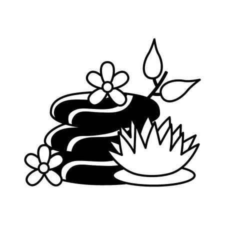 kamienie i kwiaty lotosu spa leczenie ilustracja wektorowa terapii