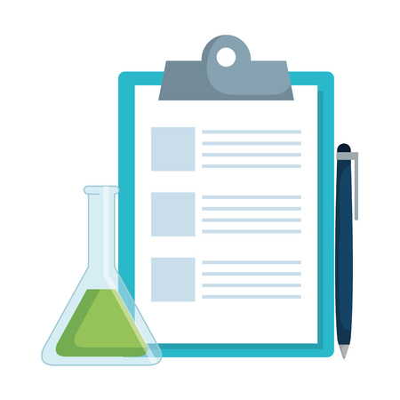 checklist clipboard with pen and tube test vector illustration design