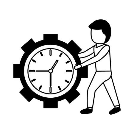 businessman clock gear work time vector illustration Stock Vector - 122916261