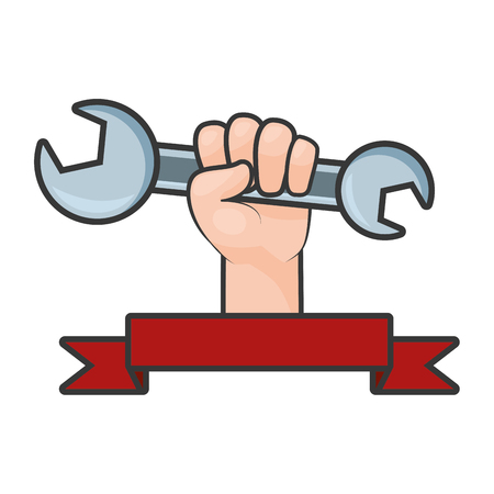 happy labour day hand with wrench vector illustration
