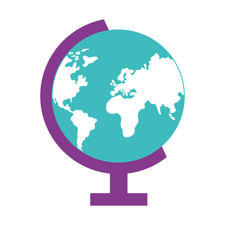 school globe map on white background vector illustration design