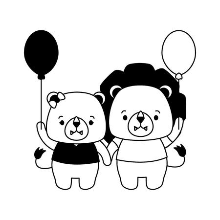 cute couple lion animal cartoon vector illustration design