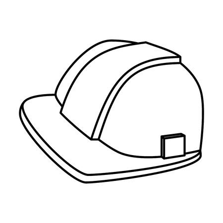 construction helmet protection icon vector illustration design Vetores