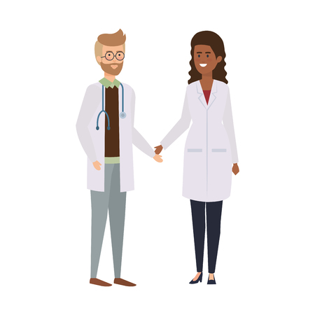couple of professionals doctors avatars characters vector illustration design Stock Vector - 122916378