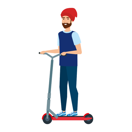 young man in folding scooter vector illustration design Imagens - 122916380