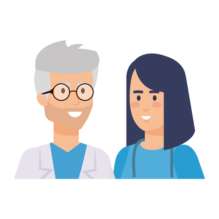 couple of professionals doctor and surgeon characters vector illustration design Stock Vector - 122916386