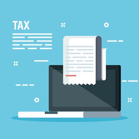 laptop with service tax report document vector illustration Standard-Bild - 121549078