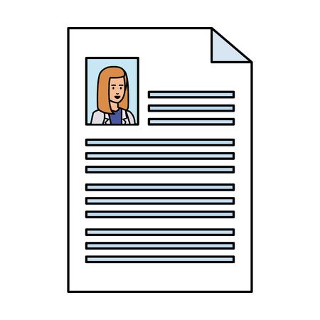 female doctor curriculum vitae document vector illustration design