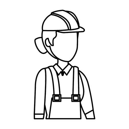 Travailleur constructeur féminin avec conception d'illustration vectorielle casque Vecteurs