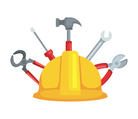 construction helmet with set tools vector illustration design