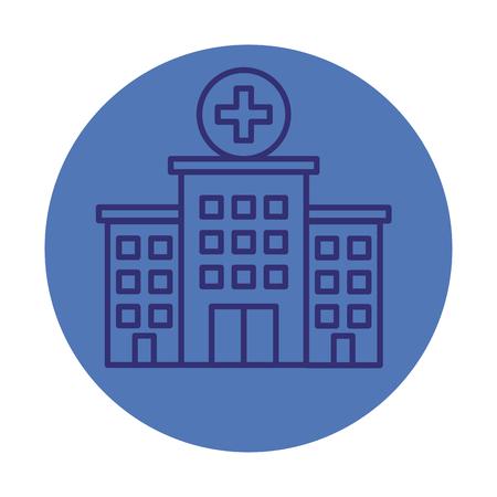 Krankenhausgebäude Fassade Symbol Vektor Illustration Design