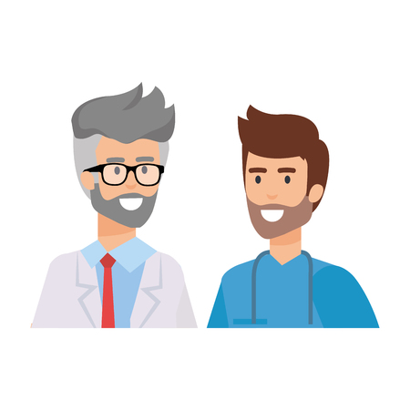 professionals doctor and surgeon characters vector illustration design Illustration
