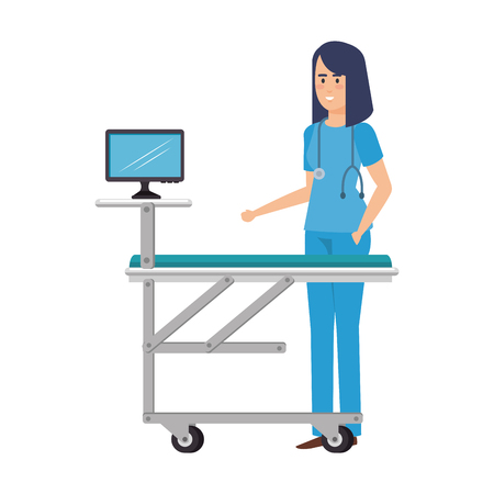 female surgeon with monitor in stretcher vector illustration design Ilustrace